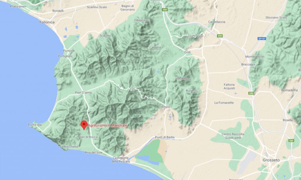 Agriturismo-Il-Maestrale-Google-Maps-cicloturismo in maremma